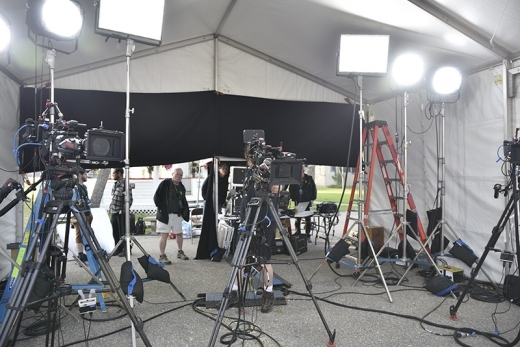 Production equipment ready for use during ANTIQUES ROADSHOW's 2019 production tour. ANTIQUES ROADSHOW airs Mondays at 8/7C PM on PBS. Photo by Katherine Nelson Hall for WGBH, (c) WGBH 2019.