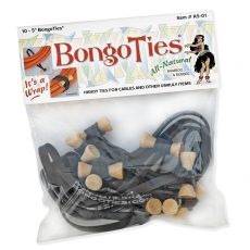 "Bongo Ties 5"" Elastic Ties 10 Pack, Black"