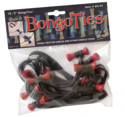 "Bongo Ties 5"" Elastic Cable Ties 10 Pack, Black"