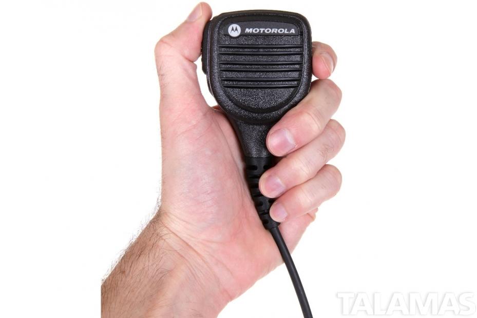 Motorola Shoulder Speaker Microphone in hand
