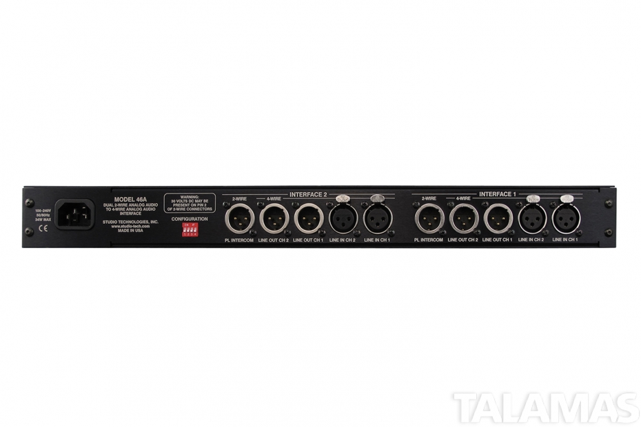 Studio Technologies Model 46A Dual 2-Wire Analog Audio to 4-Wire Analog Audio Interface